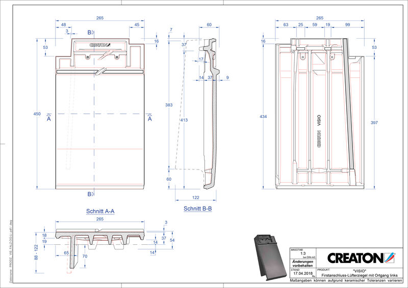 Product CAD file VISIO ridge connection ventilator verge left FALOGL