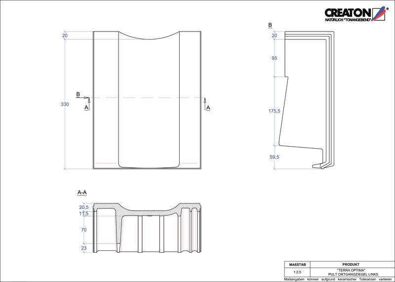 Product CAD file TERRA OPTIMA shed roof tile verge left PULTOGL