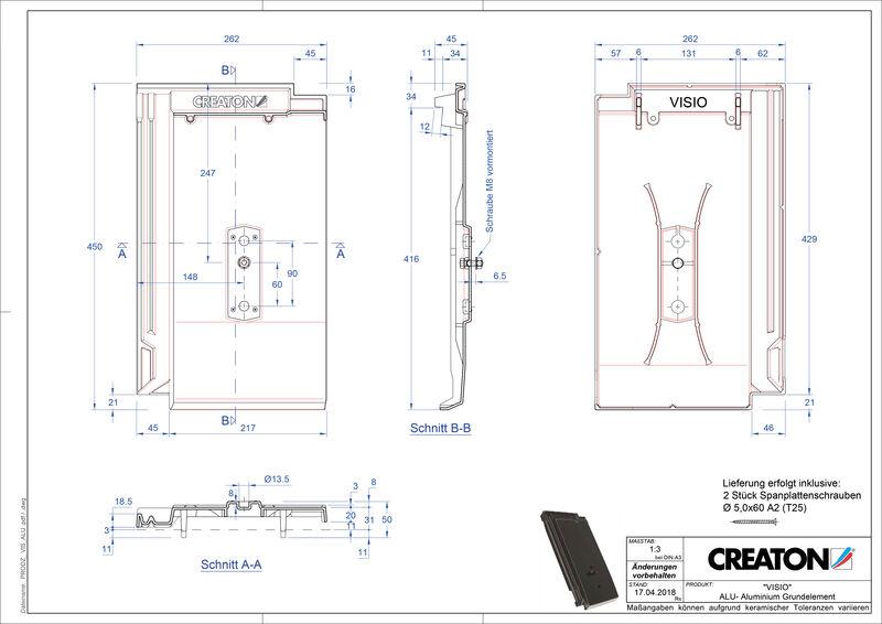 Product CAD file VISIO base, aluminium GRUNDALU