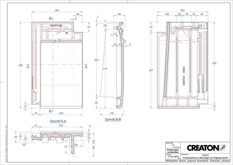 Product CAD file VISIO ridge connection ventilator verge right FALOGR