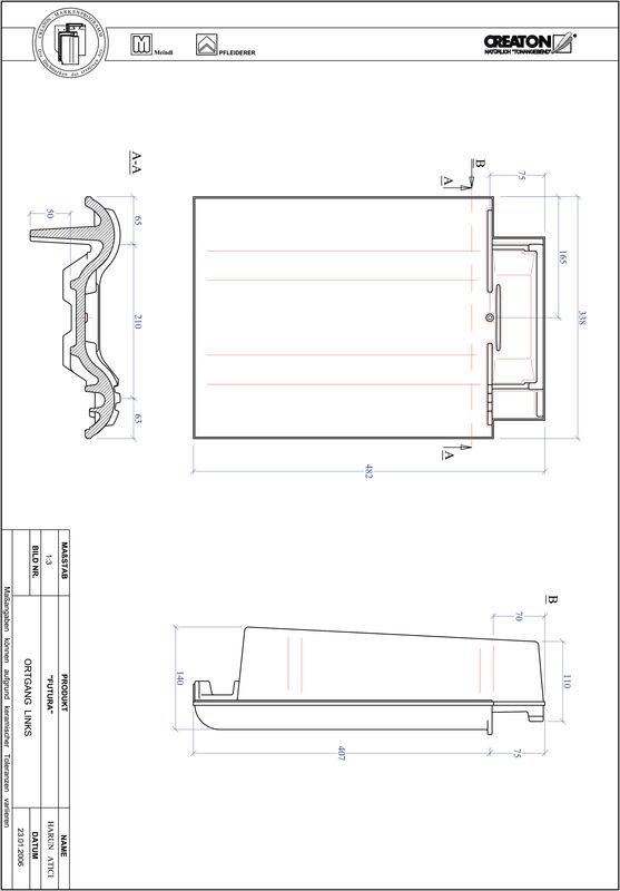 Product CAD file FUTURA gevelpan links OGL