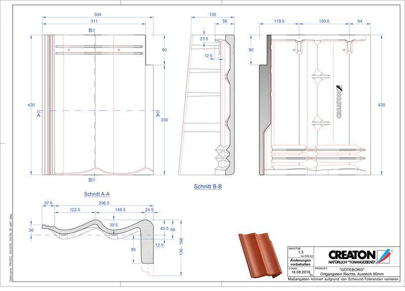 Product CAD file GÖTEBORG chaperonpan gevelpan rechts beton PultOGR-90