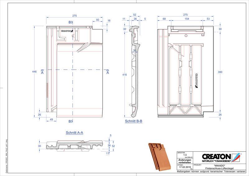 Product CAD file MIKADO ridge connection ventilating tile FALZ