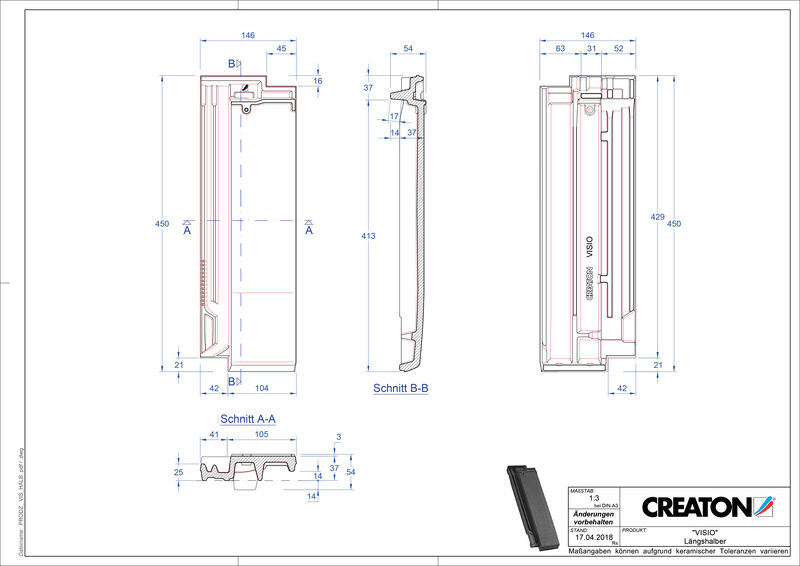 Product CAD file VISIO half-width tile LH