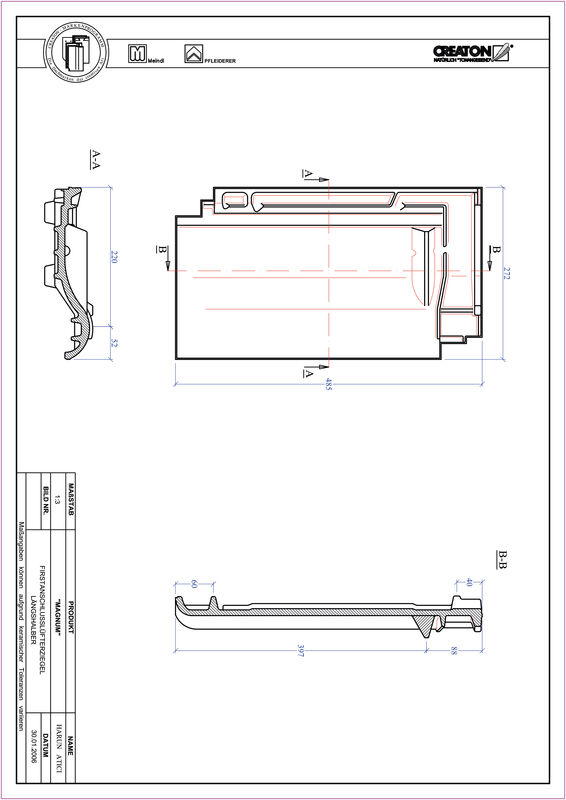 Product CAD file MAGNUM ridge connection ventilating half-width tile FALLH