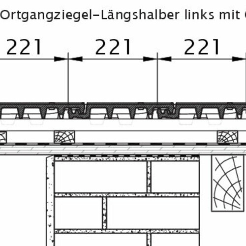 Product technical drawing VISIO OG half-width tile left with barge board OLH