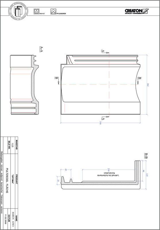 Product CAD file TERRA OPTIMA shed roof tile field PULTFLA