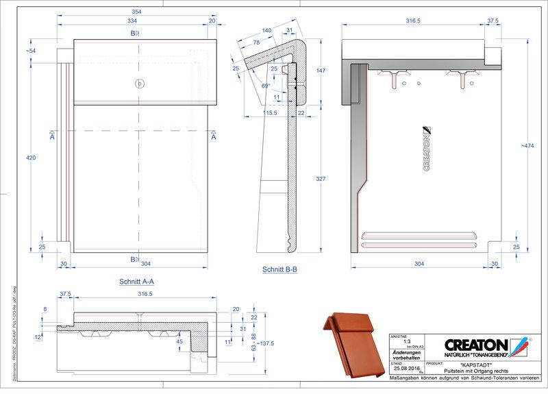 Product CAD file KAPSTADT concrete shed roof tile verge right PultOGR