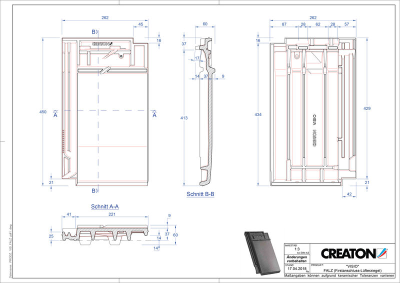 Product CAD file VISIO ridge connection ventilating tile FALZ