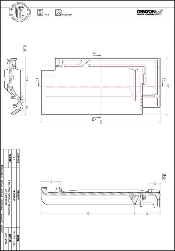 Product CAD file FUTURA ridge connection ventilating half-width tile FALLH