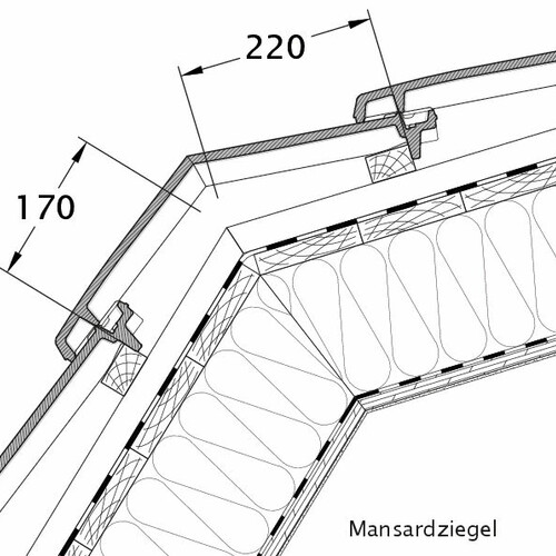 Product technical drawing VISIO mansard tile MAZ