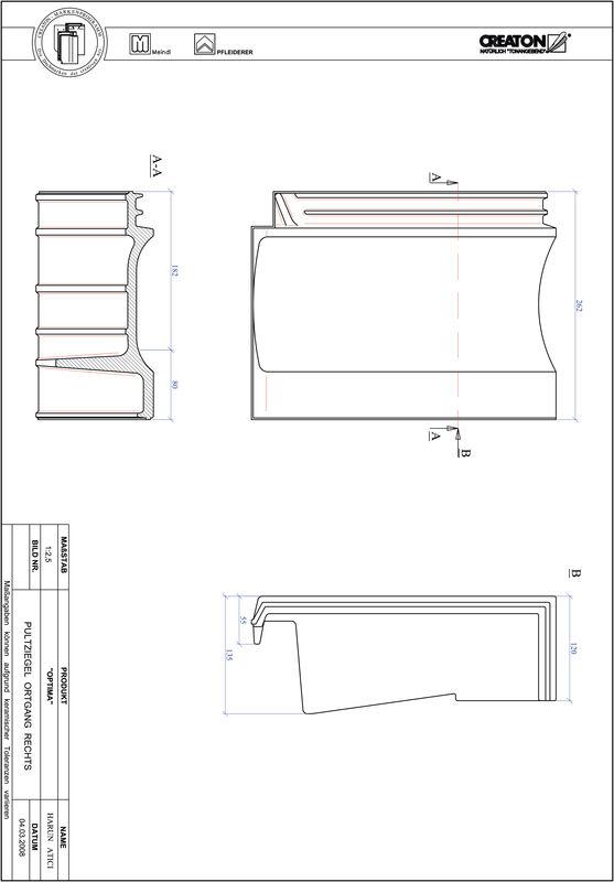 Product CAD file TERRA OPTIMA shed-/chaperongevelpan rechts PULTOGR