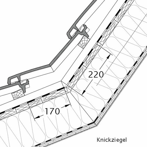 Product technical drawing VISIO pitch transition tile KNZ